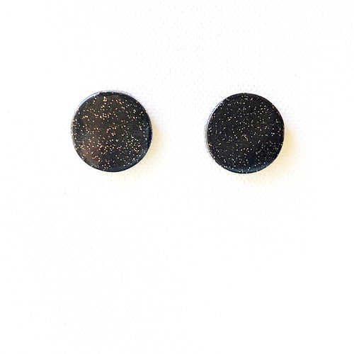 Medium Button - Black Glitter