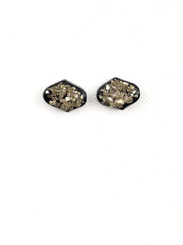Small Dome Stud - Black & Gold Glass