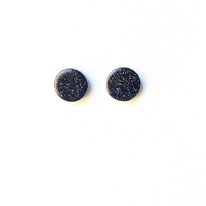 Small Button Stud - Black Glitter