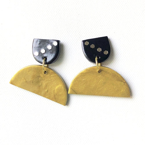 Two Tier Half Moon Drop with Gold Half Moon Button