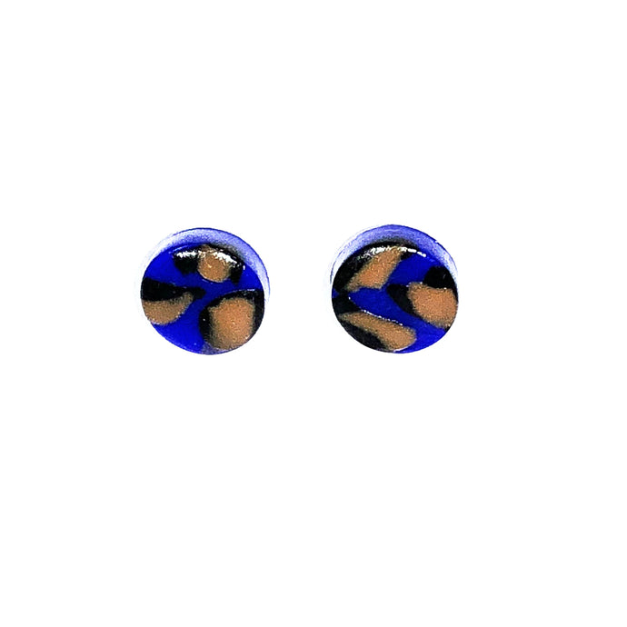 Small Button Stud - Blue