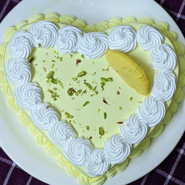 Eggless Apple Rasmalai Heart Cake - LayerBite