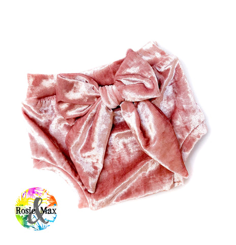 Bow Back Bummies - Pink Velvet - 12m - RTS