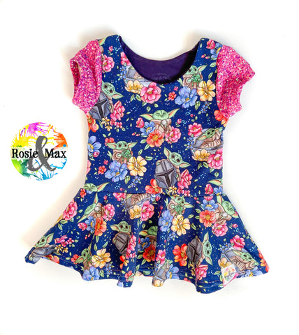 Star Child - Navy Floral - Isla Tunic NO panel