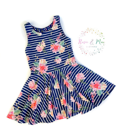 Secret Garden - Striped Floral - Isla DRESS