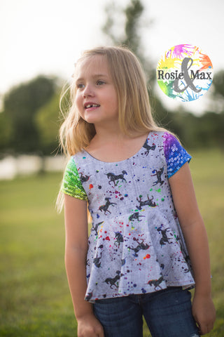 Unicorn Magic -Luna Peplum or Tunic