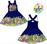 PREORDER- Sherwood Forest - Navy - Kyra Border Dress w/PANEL