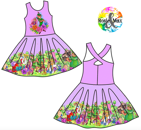 PREORDER- Sherwood Forest - Purple - Kyra Border Dress w/PANEL