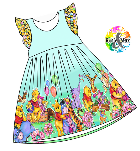 PREORDER - Hunny Bear - Border Dress