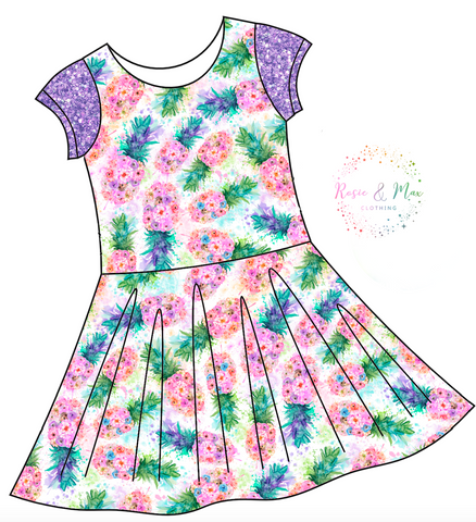 PREORDER - Pineapples - Isla Dress-NO PANEL