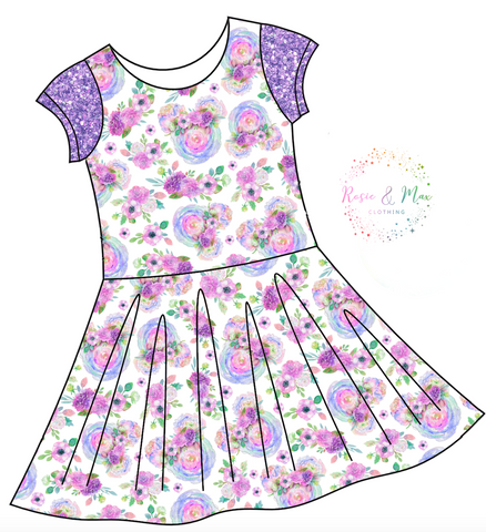 PREORDER - Floral Mouse Head - Isla Dress-NO PANEL
