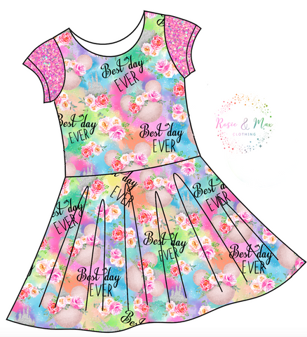 PREORDER - Best Day Ever - Colorful - Isla Dress-NO PANEL