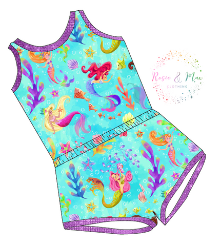PREORDER - Seasonal Prints - Mermaids  - Laney Romper