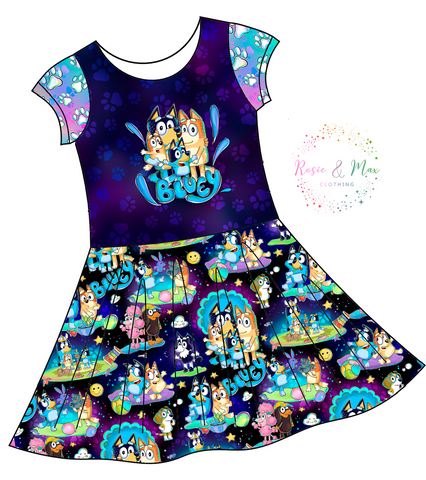 PREORDER - Hilarious Heelers - Navy - Isla DRESS w/panel