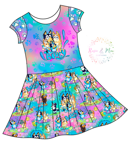 PREORDER - Hilarious Heelers - Colorful - Isla DRESS w/panel