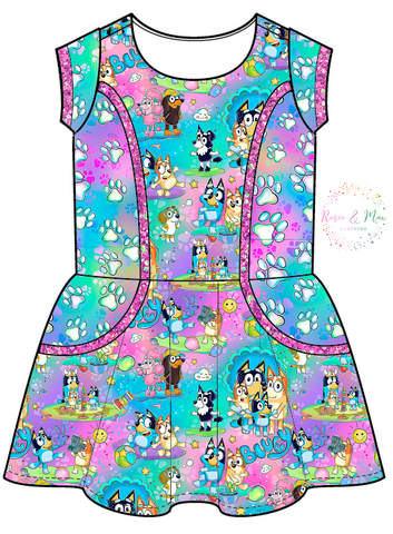 PREORDER - Hilarious Heelers - Colorful -  Zoe Dress