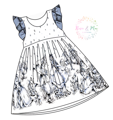 PREORDER - Monochrome Alice -  Border Dress