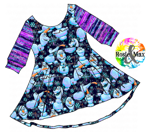 PREORDER-Ice Adventures- Snowman-Luna Dress-Black