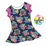 PREORDER- Star Child - Navy Floral - Isla Tunic NO panel