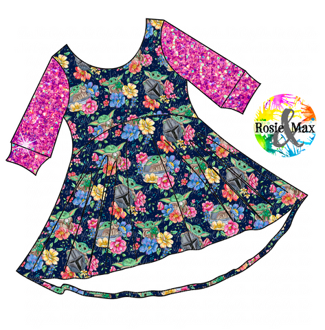 PREORDER- Star Child - Navy Floral -Luna Tunic