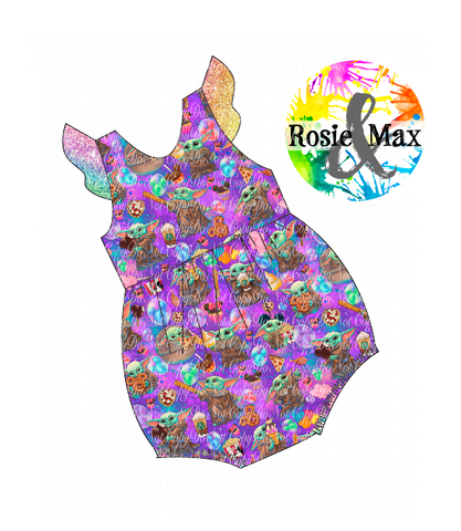 PREORDER-Baby Snacks - Tossed Purple  -Bubble Romper