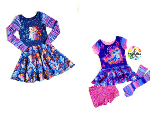 PREORDER -Ice Adventures- Sisters, Snowman, or Lizard-Isla Dress-w/PANEL