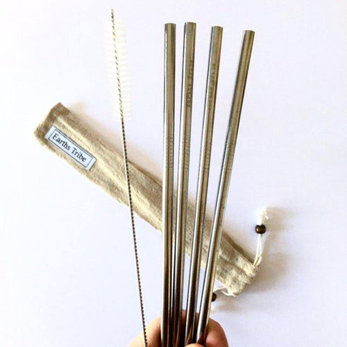 Reusable | Stainless Steel Drinking Straws | 4x Pack - Earths Tribe