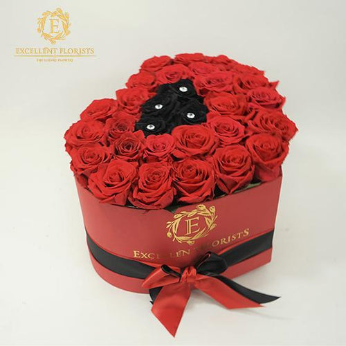 Heart Box Black & Red - Excellent Florists