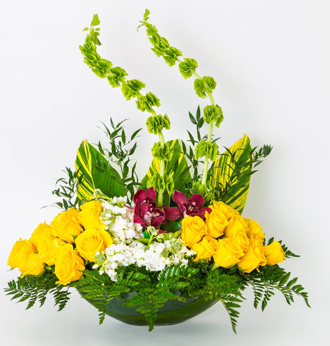 Orchids & Yellow Roses - Excellent Florists