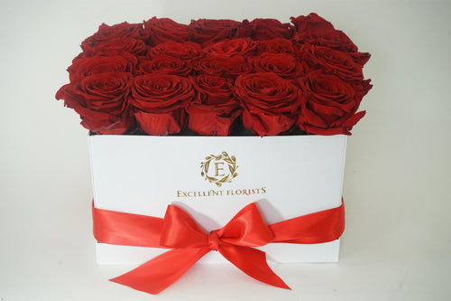 Medium Square Red Preserved Roses - Excellent Florists