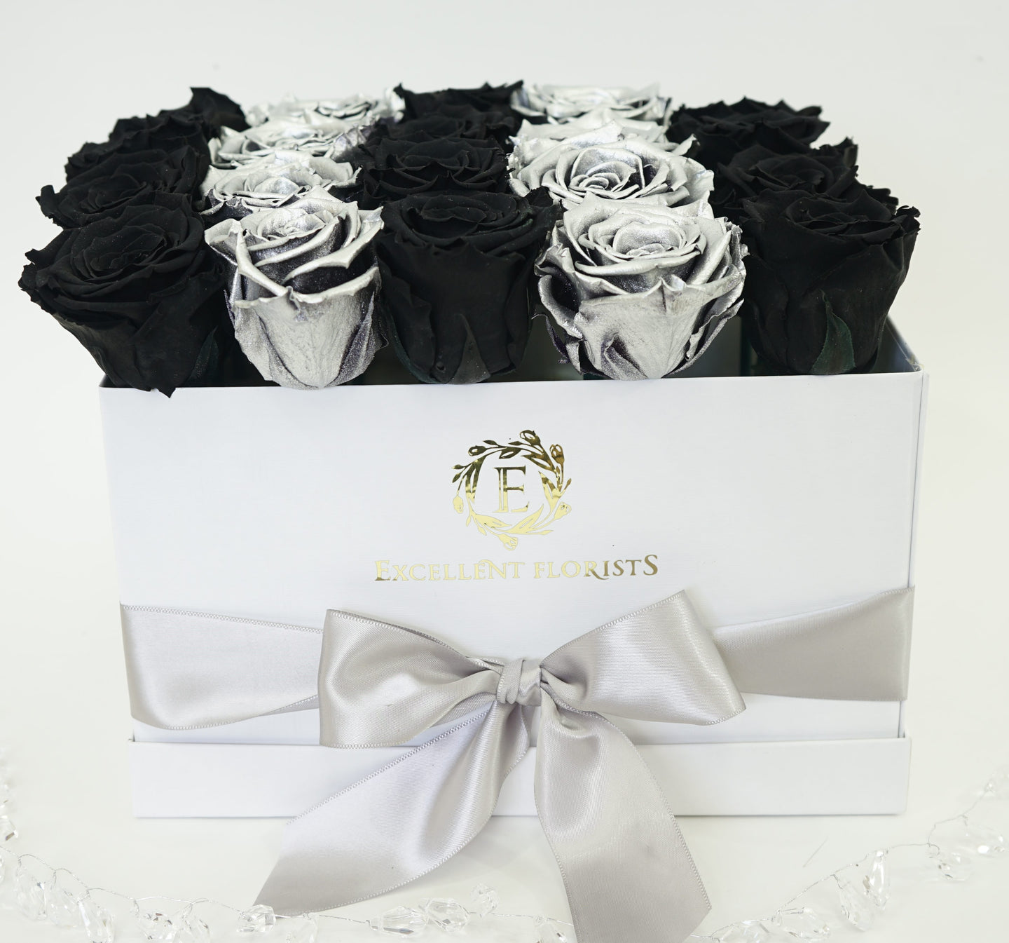 Medium Square Black and Silver Preserved Roses - Excellent Florists