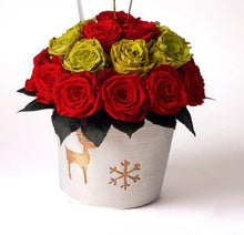 Load image into Gallery viewer, Christmas 26 Preserved Roses in a pottery vase