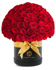 50 roses in a fancy luxury box