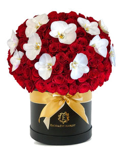 50 roses and orchids in a fancy luxury box