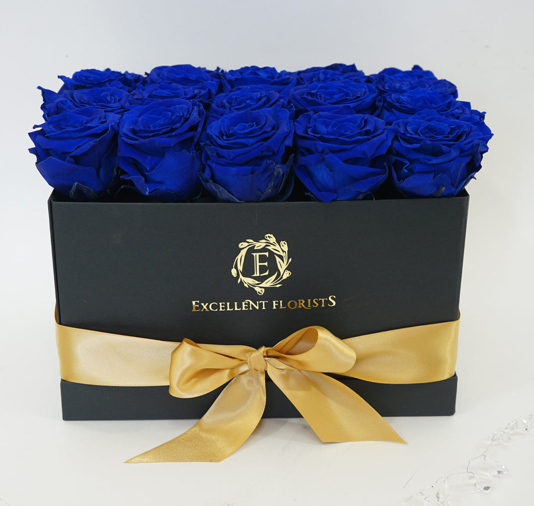 Medium Square Blue Preserved Roses - Excellent Florists