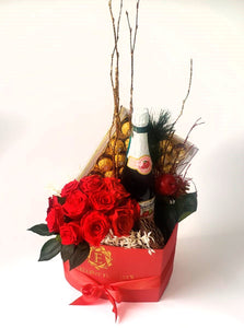 Preserved Roses, Chocolate and Sparkling apple in a heart box.