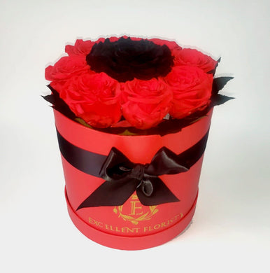 Christmas Preserved Red and Black Roses in a round box