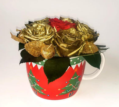 Christmas Gold and Red Preserved Roses in a cup