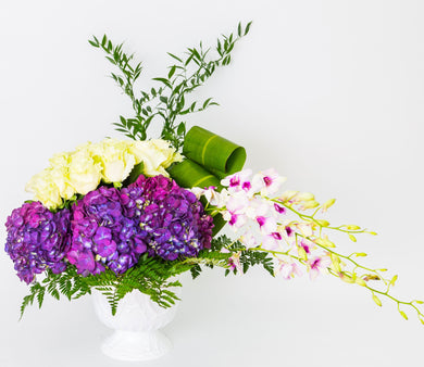 Orchids & Purple Hydrangea - Excellent Florists