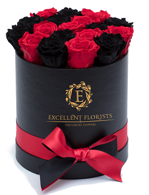Black & Red Preserved Roses - Excellent Florists