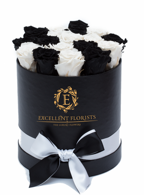 Black & White Preserved Roses - Excellent Florists