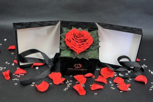 Open my heart | Black box | Red Heart-Shaped Preserved Rose - Excellent Florists