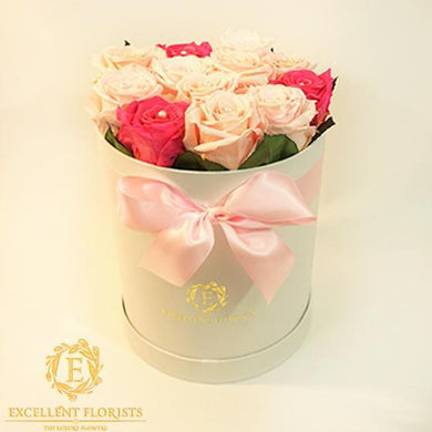 Bicolor Light Pink Preserved Roses - Excellent Florists . This beautiful arrangement of Excellent Flowers ETERNITY preserved roses is arranged for beauty and durability. They create a long-lasting impression which is sure to make someone a happy time and time again.