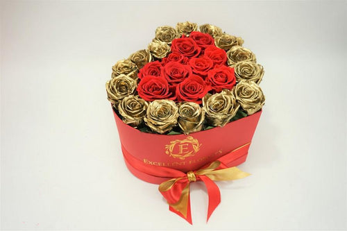 Heart Box Red & Gold - Excellent Florists