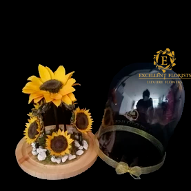 Crystal Dome with a Beautiful Sunflower Garden