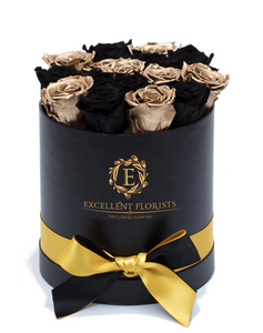 Gold & Black Preserved Roses - Excellent Florists