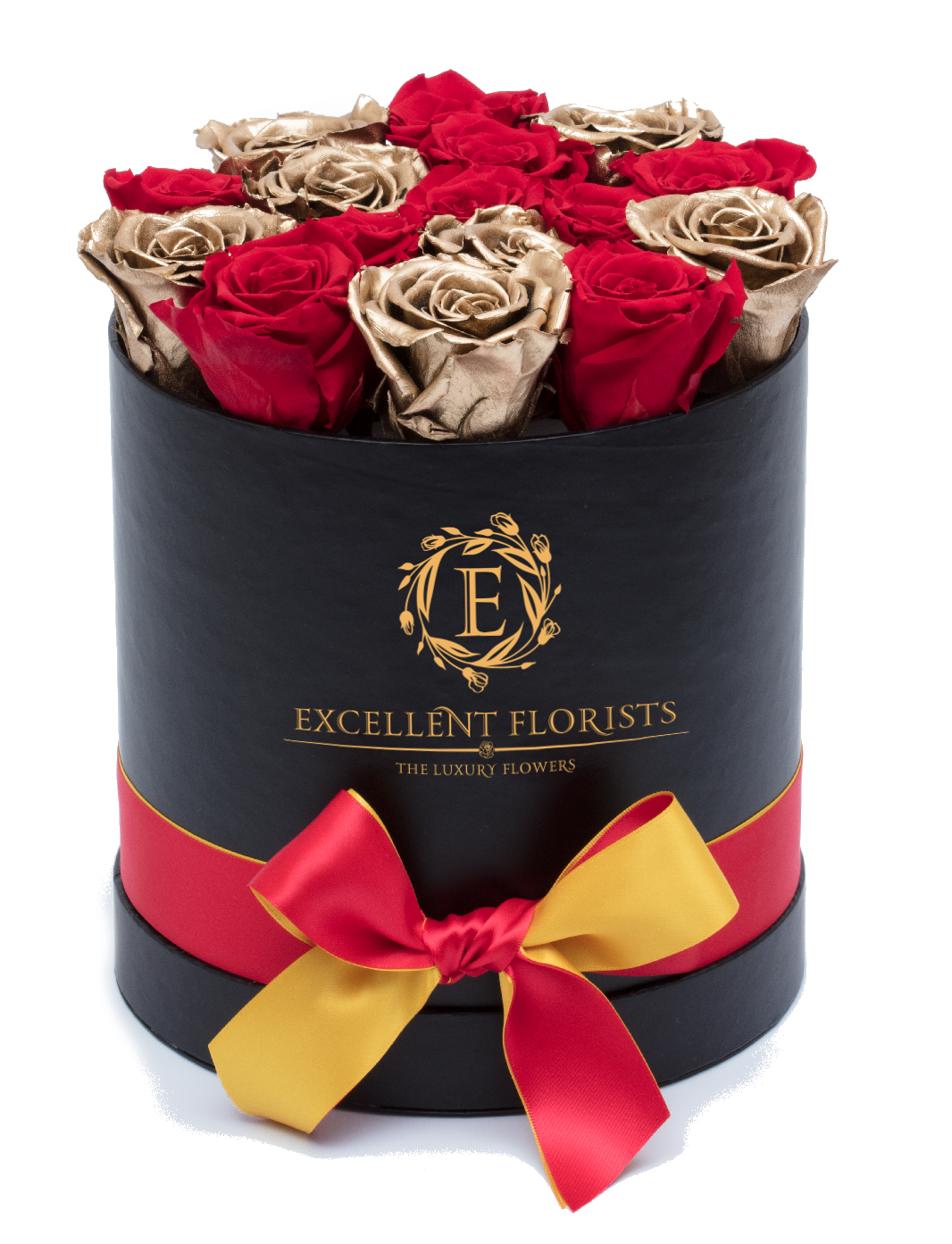 Gold & Red Mix Preserved Roses - Excellent Florists