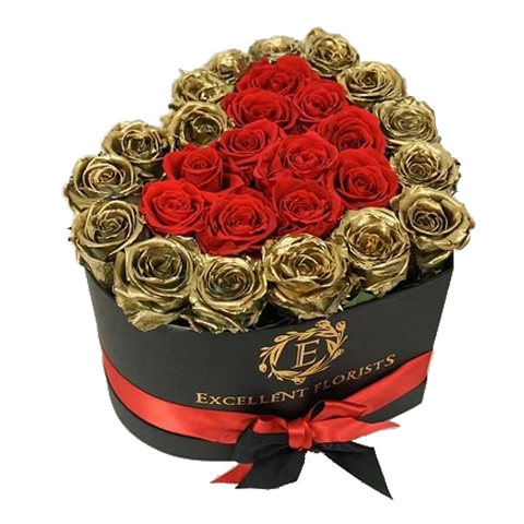 Heart Box Gold & Red - Excellent Florists