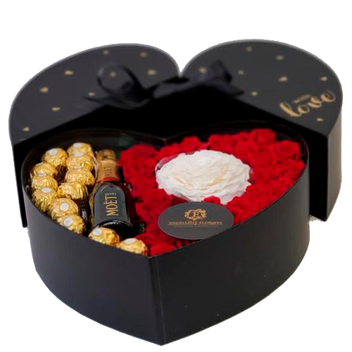 Heart Preserved Roses and Champagne bottle in a Box