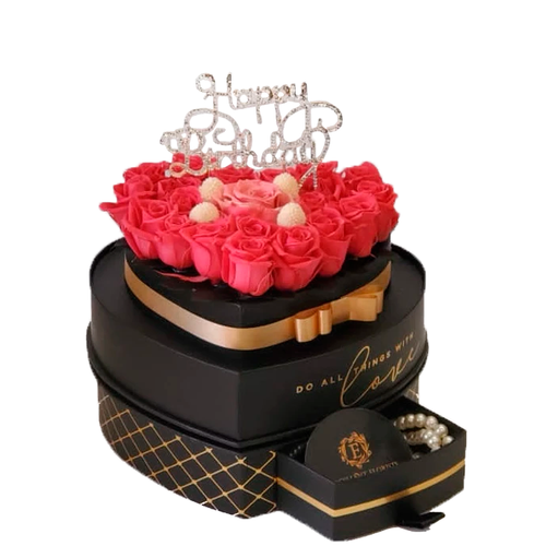 Heart Jewelry Box Mix Color Preserved Roses (Happy Birthday)